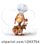 Poster, Art Print Of 3d Brown Chef Chicken Playing A Guitar