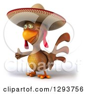 Clipart Of A 3d Brown Mexican Chicken Facing Slightly Left And Giving A Thumb Up Royalty Free Illustration