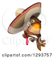 Clipart Of A 3d Brown Mexican Chicken Looking Around A Sign Royalty Free Illustration