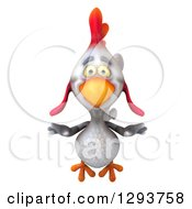 Clipart Of A 3d White Chicken Flying Royalty Free Illustration