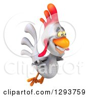 Clipart Of A 3d White Chicken Flying To The Right Royalty Free Illustration