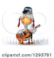 Clipart Of A 3d White Police Chicken Playing A Guitar Royalty Free Illustration