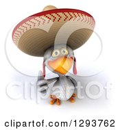 3d White Mexican Chicken Wearing A Sombrero Holding A Thumb Up