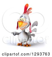 Clipart Of A 3d White Chicken Pointing To The Left Royalty Free Illustration