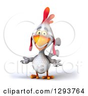 Clipart Of A 3d White Chicken Smiling And Shrugging Royalty Free Illustration