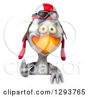 Clipart Of A 3d White Chicken Wearing A Helmet And Goggles Giving A Thumb Up Over A Sign Royalty Free Illustration