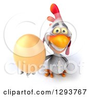 Clipart Of A 3d White Chicken Holding Up A Brown Egg Royalty Free Illustration