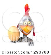Clipart Of A 3d White Chicken Holding A Brown Egg Over A Sign Royalty Free Illustration