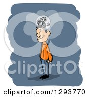 Clipart Of A Sketched White Man Thinking With Gear Cogs On Blue And White Royalty Free Illustration