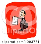 Clipart Of A Sketched White Businessman Holding Out A Contract On Red And White Royalty Free Illustration by Julos