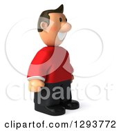 Clipart Of A 3d Casual White Man In A Red Shirt Facing Right And Smiling Royalty Free Illustration