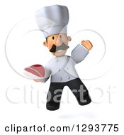 Clipart Of A 3d Short Male Chef With A Mustache Jumping And Holding A Beef Steak Royalty Free Illustration