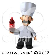 Clipart Of A 3d Short Male Chef With A Mustache Holding A Soda Bottle Royalty Free Illustration