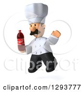 Clipart Of A 3d Short Male Chef With A Mustache Facing Left Jumping And Holding A Soda Bottle Royalty Free Illustration