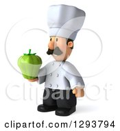 Clipart Of A 3d Short Male Chef With A Mustache Holding A Green Bell Pepper And Facing Slightly Left Royalty Free Illustration