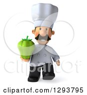 Clipart Of A 3d Short Male Chef With A Mustache Walking And Holding A Green Bell Pepper Royalty Free Illustration