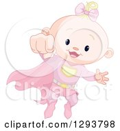 Clipart Of A Cute Blond Caucasian Super Hero Baby Girl Flying Royalty Free Vector Illustration