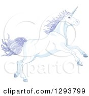 Clipart Of A Magical Leaping White Unicorn With Sparkly Purple Hair Royalty Free Vector Illustration