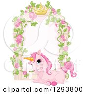 Cute Pink Unicorn Resting By A Rose Garden Arbor With A Crown