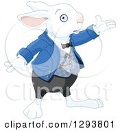 Clipart Of A White Rabbit Presenting To The Right Royalty Free Vector Illustration