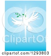 Clipart Of A White Dove Flying With A Branch Over A Cross And Blue Rays Royalty Free Vector Illustration