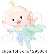 Clipart Of A Cute Blond Caucasian Super Hero Baby Boy Flying Royalty Free Vector Illustration