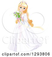Happy Blond Blue Eyed Caucasian Princess In A White Dress Holding A Bouquet Of Spring Tulip Flowers