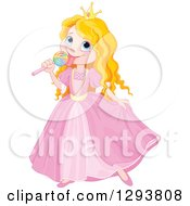 Strawberry Blond Caucasian Princess In A Pink Dress Eating A Lollipop