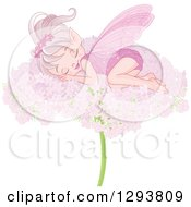 Clipart Of A Happy Pink Fairy Sleeping On A Flower Royalty Free Vector Illustration