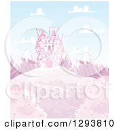 Clipart Of A Path Leading To A Fairy Tale Castle On A Pink Hill With Snow Capped Mountains Royalty Free Vector Illustration