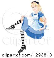 Clipart Of A Relaxed Alice In Wonderland Sitting On A Glass Rim Royalty Free Vector Illustration by Pushkin