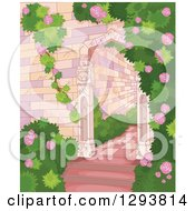 Clipart Of A Castle Garden Of Roses And Shrubs Royalty Free Vector Illustration