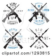 Clipart Of Distressed Crossed Rifle Badge Designs With Sample Text Royalty Free Vector Illustration