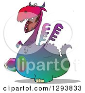 Clipart Of A Gradient Colorful Dragon Walking To The Left With A Shadow Royalty Free Illustration by djart