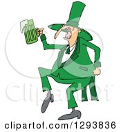 Clipart Of A Drunk St Patricks Day Leprechaun Dancing With Green Beer Royalty Free Vector Illustration by Dennis Cox