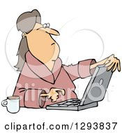 Clipart of a Caucasian Woman in Her Robe, Sitting with Coffee and Using a Laptop Computer - Royalty Free Vector Illustration by Dennis Cox