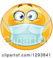 Clipart Of A Yellow Smiley Emoticon Face Wearing A Medical Mask Royalty Free Vector Illustration