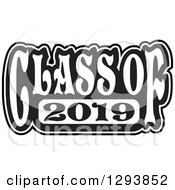Clipart Of A Black And White Class Of 2019 High School Graduation Year Royalty Free Vector Illustration