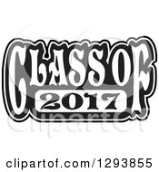 Clipart Of A Black And White Class Of 2017 High School Graduation Year Royalty Free Vector Illustration
