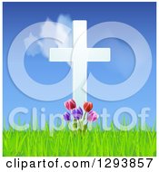 Clipart Of A 3d White Easter Cross With Tulip Flowers And Grass Against A Blue Sky And Clouds Royalty Free Vector Illustration
