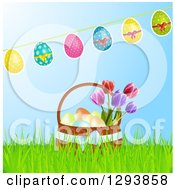 Clipart Of A Banner Of Decorated Easter Eggs Over A 3d Basket With Tulip Flowers In Grass Over Blue Royalty Free Vector Illustration