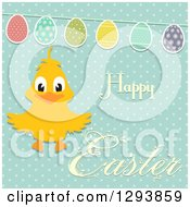Clipart Of A Happy Chick With Happy Easter Text And An Egg Bunting On Polka Dots Royalty Free Vector Illustration by elaineitalia