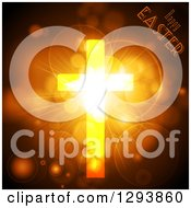 Clipart Of A Golden Cross With Glowing Flares And Light With Happy Easter Text Royalty Free Vector Illustration