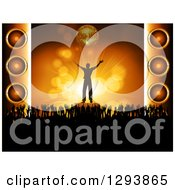 Clipart Of A Silhouetted Male Musician Cheering Under A 3d Gold Disco Ball With Hands Of Concert Fans And Music Speakers Royalty Free Vector Illustration by elaineitalia