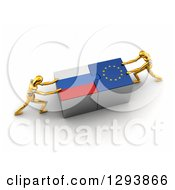 Clipart Of 3d Gold Mannequins Successfully Connecting Russian And European Flag Puzzle Pieces Together Royalty Free Illustration by stockillustrations