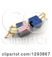 Clipart Of 3d Gold Mannequins Pushing American And European Flag Puzzle Pieces Together To Find A Solution Royalty Free Illustration by stockillustrations