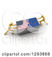 Clipart Of 3d Gold Mannequins Successfully Connecting American And European Flag Puzzle Pieces Together Royalty Free Illustration by stockillustrations