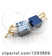 Clipart Of 3d Gold Mannequins Pushing Greek And European Flag Puzzle Pieces Together To Find A Solution Royalty Free Illustration