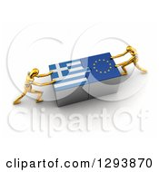 Clipart Of 3d Gold Mannequins Successfully Connecting Greek And European Flag Puzzle Pieces Together Royalty Free Illustration