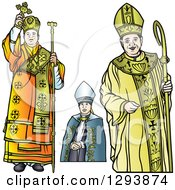 Clipart Of Bishops With A Cross And Staff Royalty Free Vector Illustration